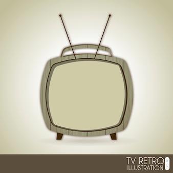Retro della tv sopra l'illustrazione grigia di vettore del fondo