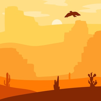 Retro deserto selvaggio del west. tramonto vintage nella prateria