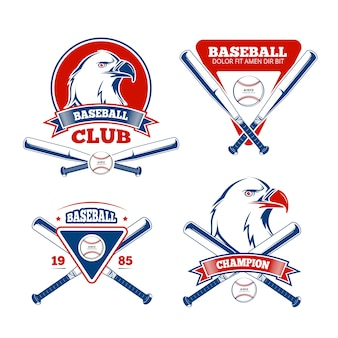 Retro distintivi di vettore di sport di baseball per gli abiti sportivi dei ragazzi