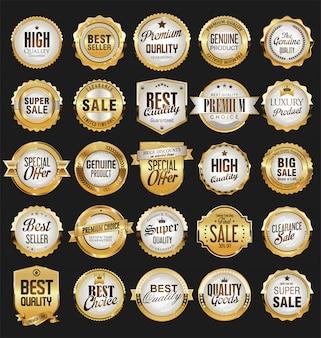 Retro distintivi dorati di vendita ed etichette eccellenti di vettore di raccolta
