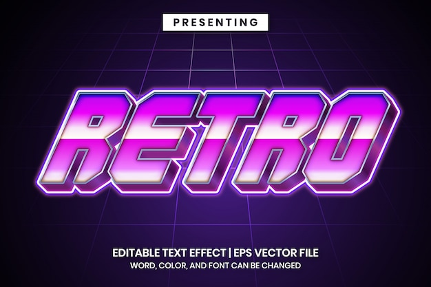 Retro effetto di testo modificabile futuristico