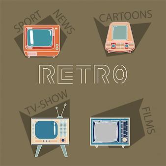 Retro elementi tv. televisori diversi con film, sport, notizie, cartoni animati e programmi tv