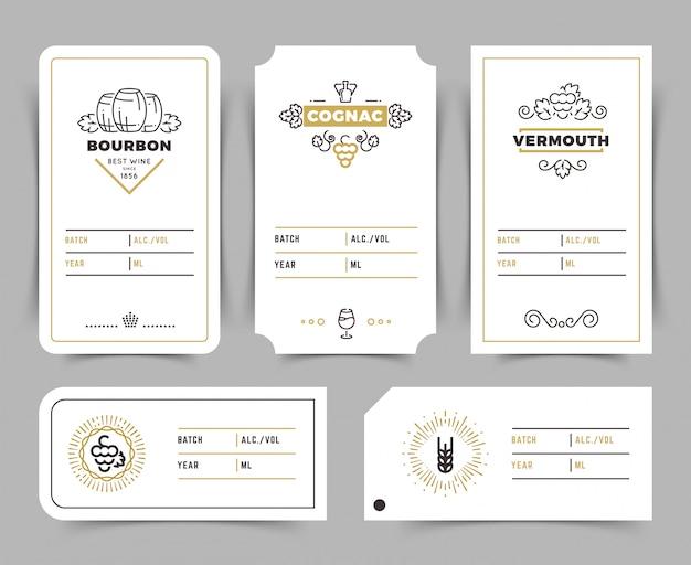 Retro emblemi di vettore di bere alcol. etichette vintage di bourbon, whiskey e brandy