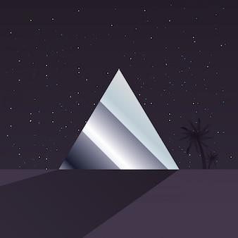 Retro etichetta futura con figure geometriche