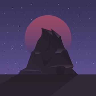 Retro etichetta futura con scena di montagne