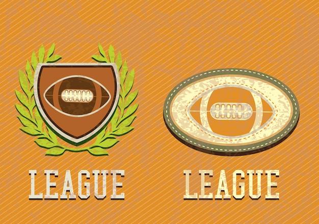 Retro etichette di football americano su sfondo vintage stile grunge