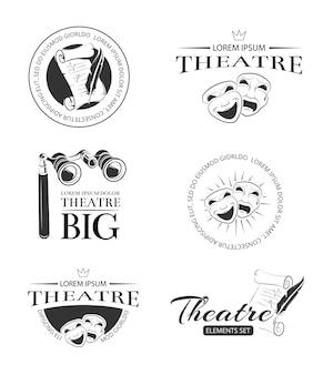 Retro etichette di vettore di prestazione di spettacolo di recitazione del teatro