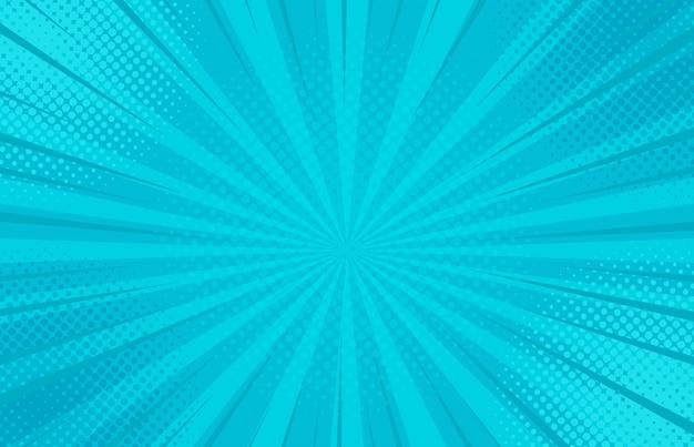 Retro fondo comico a strisce blu astratto con gli angoli di semitono.
