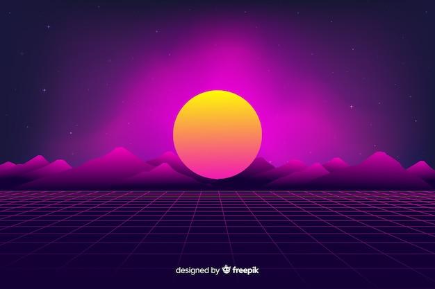 Retro fondo futuristico del paesaggio di fantascienza, colore viola