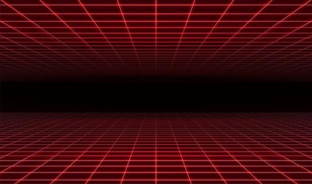 Retro fondo rosso futuristico astratto di griglia del laser.