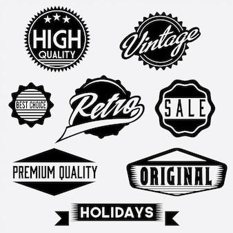 Retro francobolli e distintivi in bianco e nero