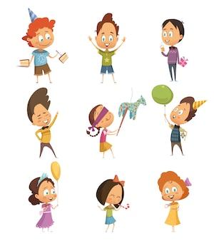 Retro icone del partito dei bambini messe