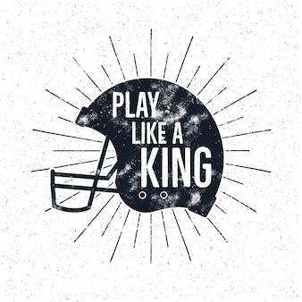 Retro illustrazione del casco di football americano con il testo ispiratore di citazione