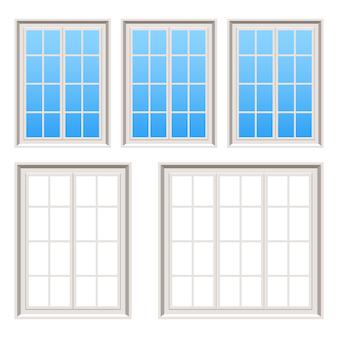 Retro illustrazione di legno delle finestre su fondo bianco