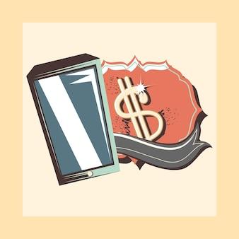 Retro illustrazione di vettore del dollaro dell'etichetta del cellulare di acquisto