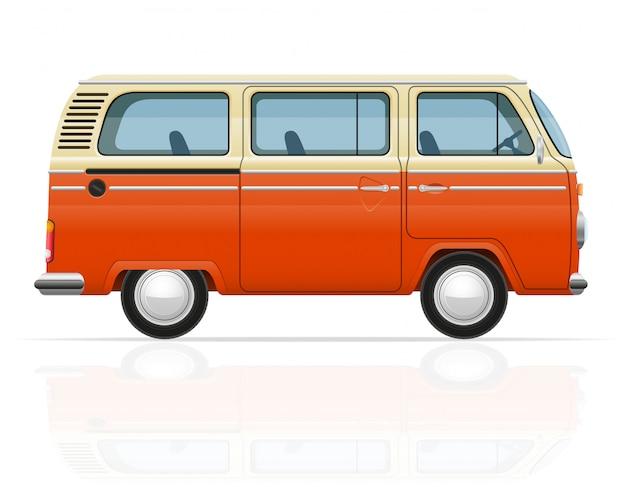Retro illustrazione di vettore minivan