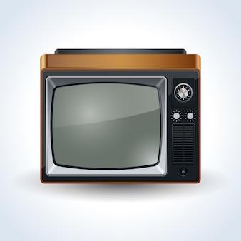 Retro illustrazione realistica di vettore del televisore su fondo bianco