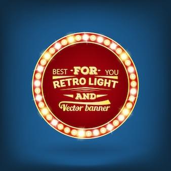 Retro insegna della bolla di discorso di vettore della lampadina.