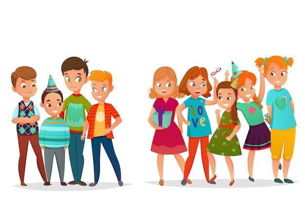 Retro insieme del partito di compleanno dei bambini