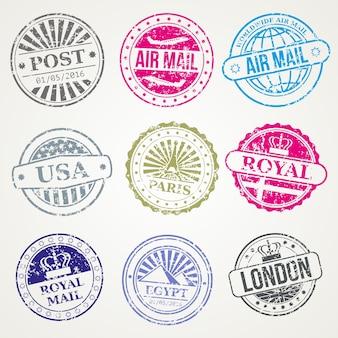Retro insieme di vettore dell'aria dell'ufficio postale della posta dei bolli postali