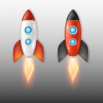 Retro insieme realistico dell'icona del lancio della nave spaziale del razzo di vettore isolato su fondo trasparente.