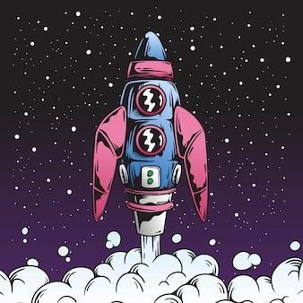 Retro lancio del razzo nell'illustrazione dello spazio