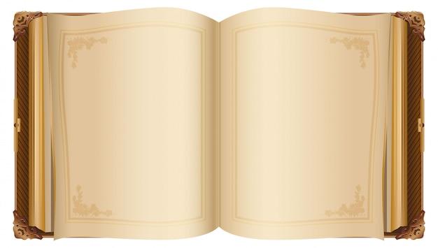 Retro libro aperto con pagine bianche