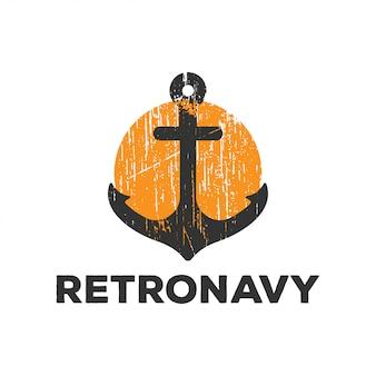Retro logo navy di ancoraggio