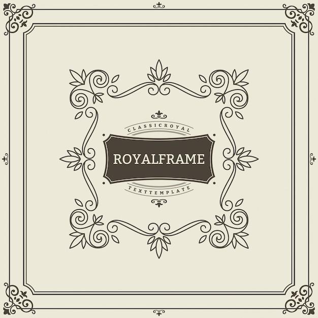 Retro luxury invitation, royal certificate. fiorisce il telaio. ornamento d'epoca, cornice ornamentale