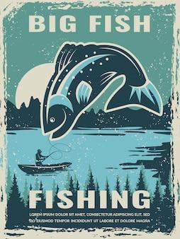 Retro manifesto del club del pescatore con l'illustrazione di grande pesce