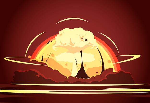 Retro manifesto del fumetto della prova del deserto di arma nucleare con l'aumento radioattivo