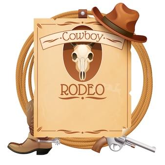 Retro manifesto selvaggio di rodeo ovest