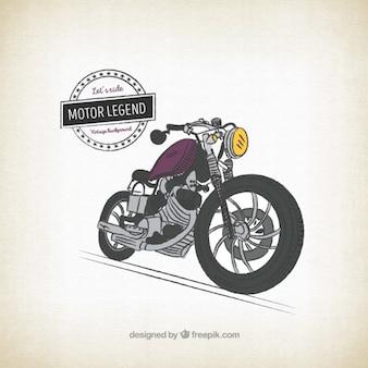 Retro mano moto disegnato sfondo