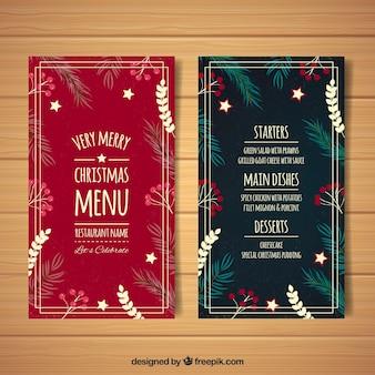 Retro menu con decorazioni floreali di Natale