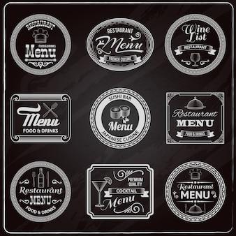 Retro menu etichette lavagna