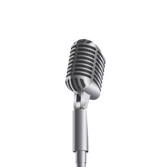 Retro microfono di musica da concerto vintage sul cavalletto.