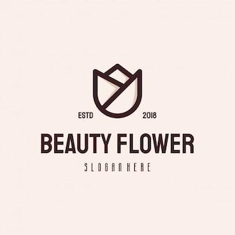 Retro modello di vettore d'annata di logo del fiore di bellezza