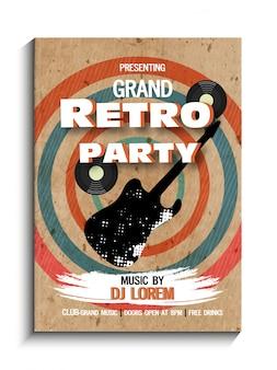 Retro musica party celebrazione vintage flyer, banner o modello di progettazione.