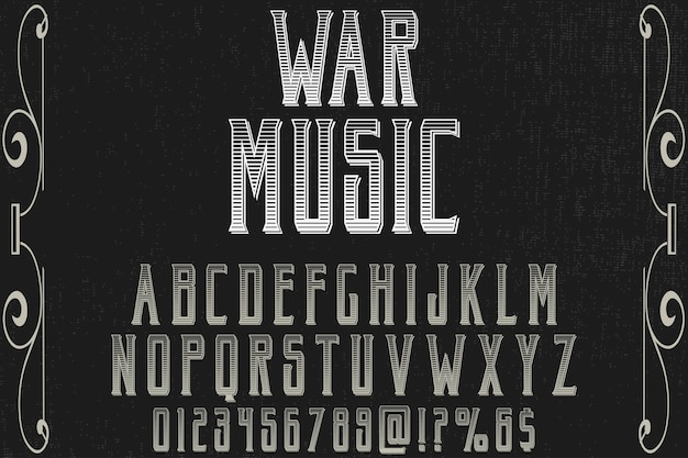 Retro musik di guerra di progettazione dell'etichetta di alfabeto