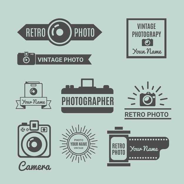 Retro photography loghi pacchetto