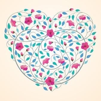 Retro priorità bassa della bandiera del fiore dell'icona del cuore di amore