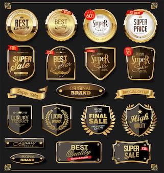 Retro raccolta di etichette e distintivi dorati vettoriale