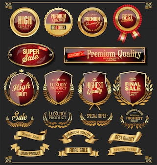 Retro raccolta di etichette e scudi di nastri dorati vettoriale