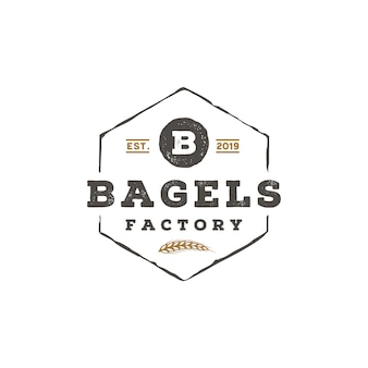 Retro rustico lettera b d'epoca per bagel logo design