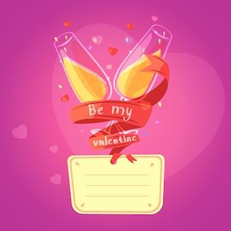Retro scheda del fumetto di giorno del biglietto di s. valentino con i vetri su champagne e sui cuori su fondo
