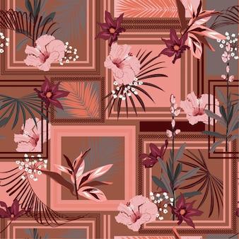 Retro sciarpa di seta tropicale senza cuciture con foresta esotica cornice moderna.