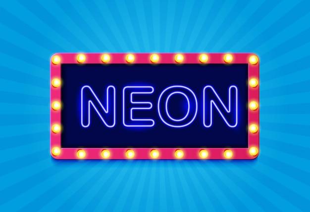 Retro segno al neon con i raggi del sole.