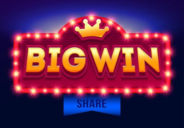 Retro segno con lampada big win banner, design con poker, carte da gioco, slot e roulette.