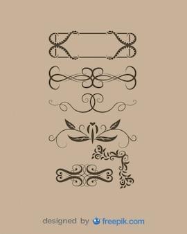 Retro set decorativi floreali di elementi grafici
