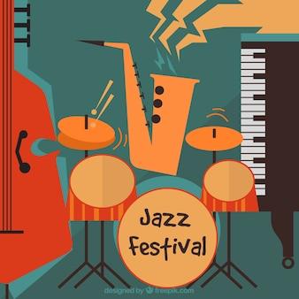 Retro sfondo festival jazz in stile vintage
